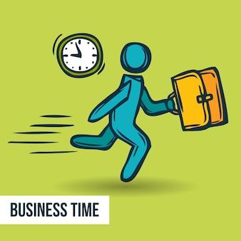 Fondo de negocios dibujado a mano con personaje corriendo
