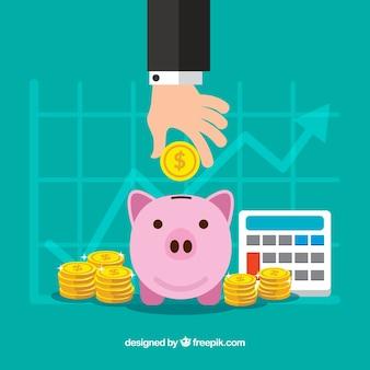 Fondo de negocios con estadísticas y hucha de cerdito