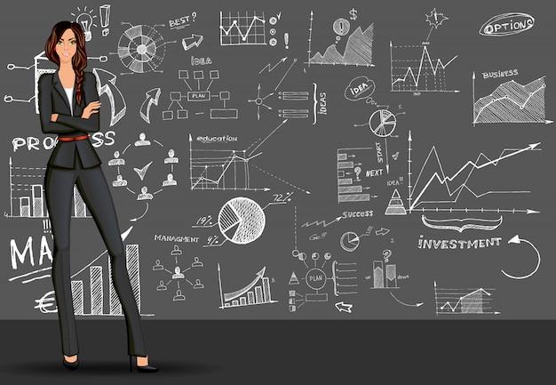 Fondo de negocios mujer doodle