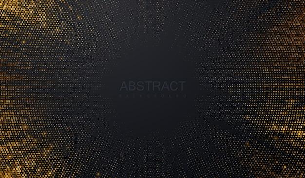 Fondo negro abstracto con estallido de brillos dorados