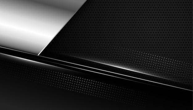 Fondo negro abstracto con formas plateadas metálicas