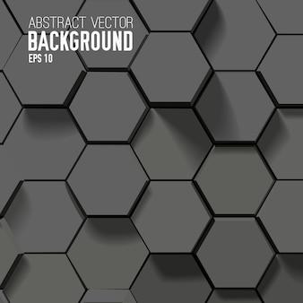 Fondo negro abstracto con hexágonos geométricos