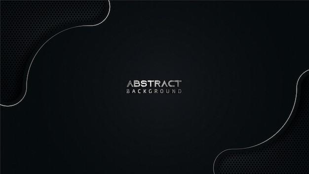Fondo negro abstracto con líneas onduladas plateadas