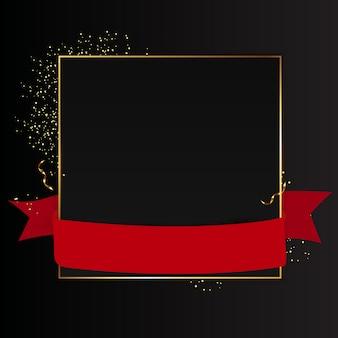 Fondo negro abstracto con marco dorado y cinta roja. ilustración