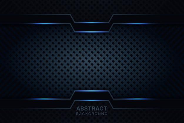 Fondo negro abstracto con metal azul oscuro.