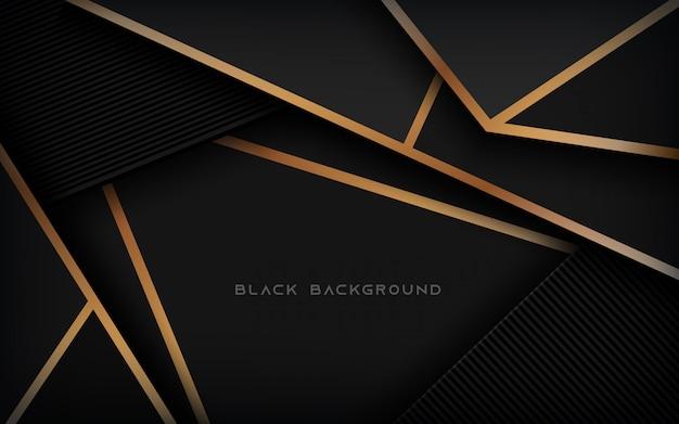 Fondo negro abstracto moderno con línea de oro