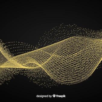 Fondo negro abstracto ola dorada
