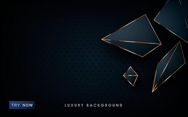 Fondo negro abstracto de polígono de lujo