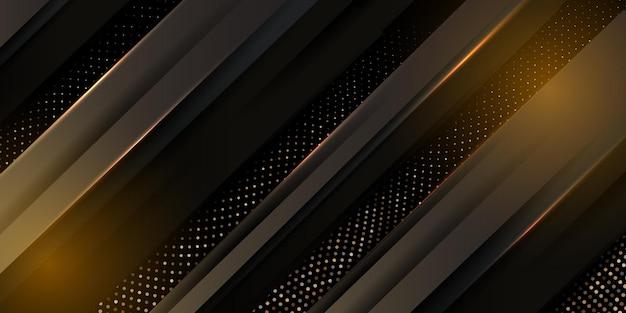 Fondo negro abstracto con textura con patrón de semitono dorado