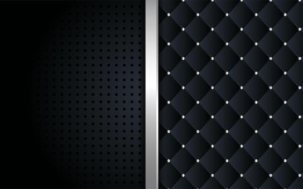 Fondo negro abstracto con textura y plantilla de línea plateada