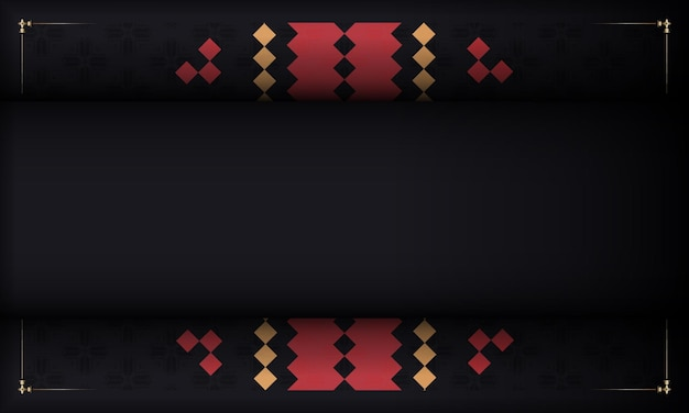 Fondo negro con adornos vintage eslavos y lugar para tu logo. plantilla para diseño de impresión de postal con adornos de lujo.