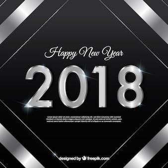 Fondo negro de año nuevo con un marco plateado