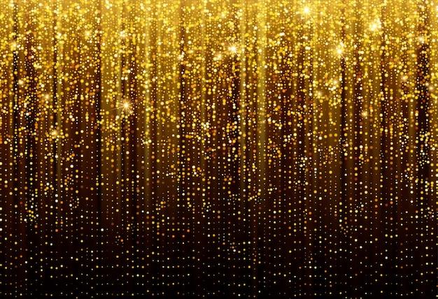 Fondo negro con la caída de destellos dorados brillo. fondo para el diseño festivo de decoración.