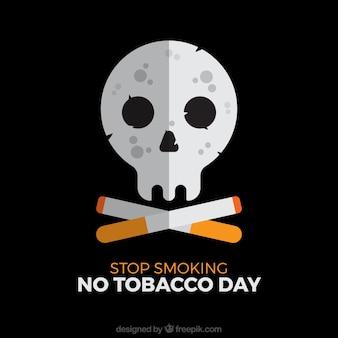 Fondo negro con calavera y cigarros
