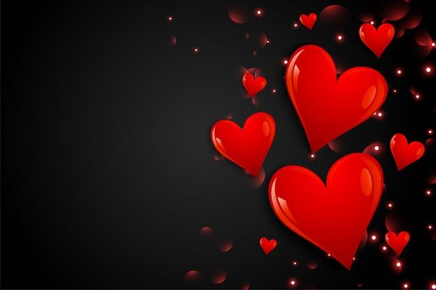 Fondo negro con corazones dibujados a mano