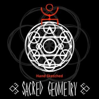 Fondo negro con dibujo de geometría sagrada