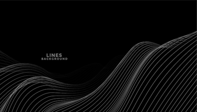 Fondo negro con diseño de líneas onduladas gris oscuro