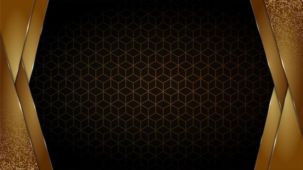 Fondo negro y dorado formas geométricas abstractas papel tapiz de diseño de lujo capa realista