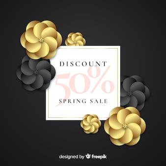 Fondo negro y dorado de rebajas de primavera