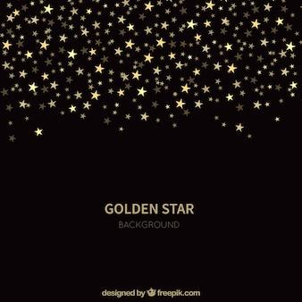 Fondo negro de estrellas doradas