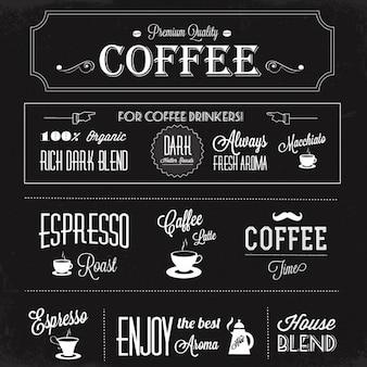Fondo negro con etiquetas de café
