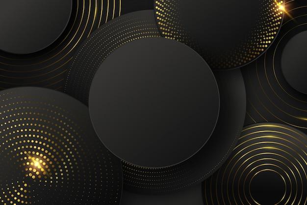 Fondo negro con formas y elementos dorados.