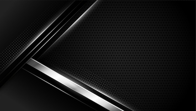 Fondo negro con formas geométricas plateadas