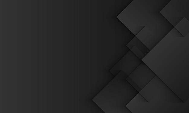 Fondo negro y gris con superposición de cuadrados geométricos y estilo de papel de sombra