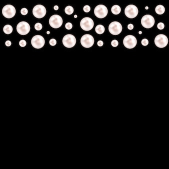Fondo negro con guirnaldas de perlas naturales de perlas. ilustración vectorial
