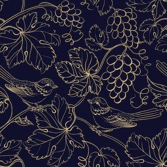 Fondo negro con hojas y bayas de uva de oro.