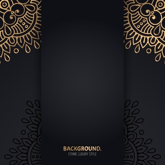 Fondo negro islámico con círculos de mandala geométricos dorados
