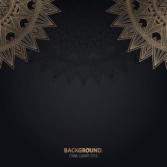 Fondo negro islámico con decoración de mandala de oro.