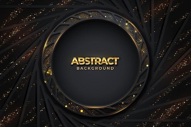 Fondo negro de lujo abstracto con una combinación de puntos dorados brillantes con estilo 3d