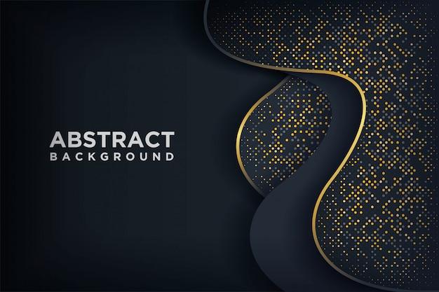 Fondo negro de lujo con una combinación de puntos dorados brillantes.