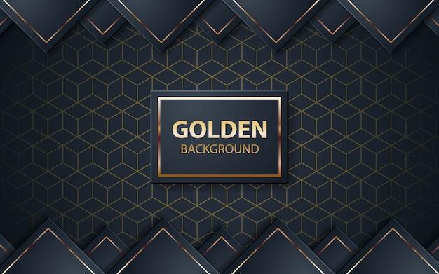 Fondo negro de lujo con lista dorada en cuadrado negro