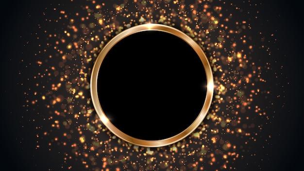 Fondo negro con un marco circular combinado con puntos brillantes.
