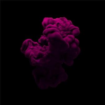 Fondo negro de nube de pintura púrpura remolino bajo el agua.