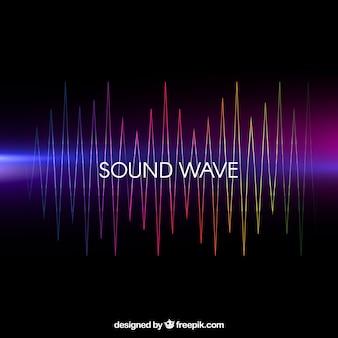 Fondo negro con onda sonora de colores