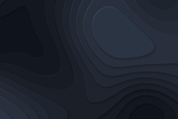 Fondo negro de papel de corte geométrico, concepto de mapa de topografía.