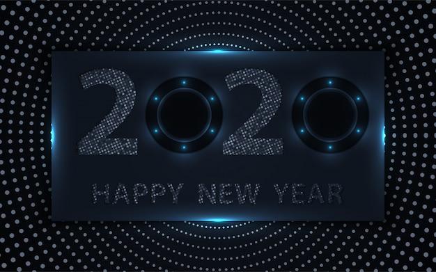 Fondo negro y plata feliz año nuevo con elemento de brillos