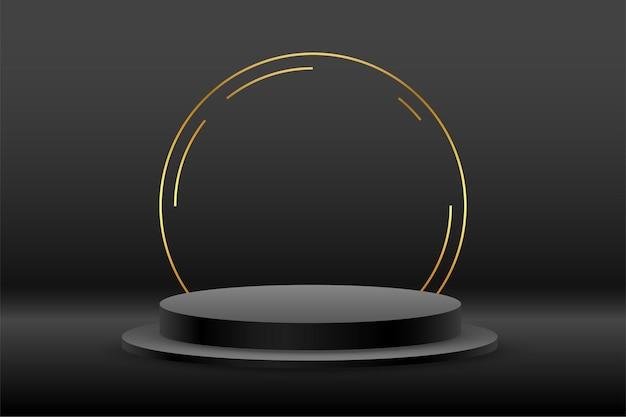 Fondo negro con podio y círculo dorado.