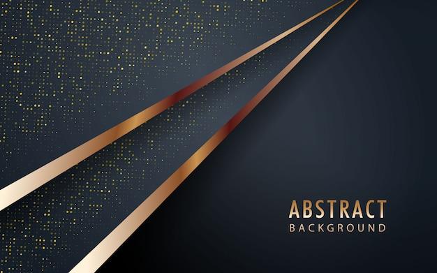 Fondo negro realista abstracto con lista de oro