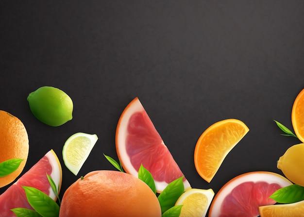 Fondo negro realista de cítricos con frutas enteras y rodajas de naranja limón y pomelo
