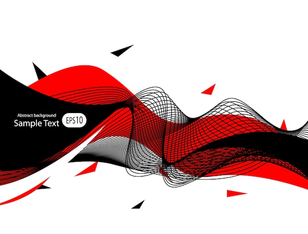 Fondo negro rojo abstracto, ondas