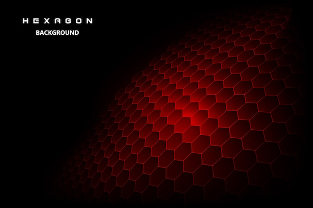 Fondo negro con rojo hexagonal
