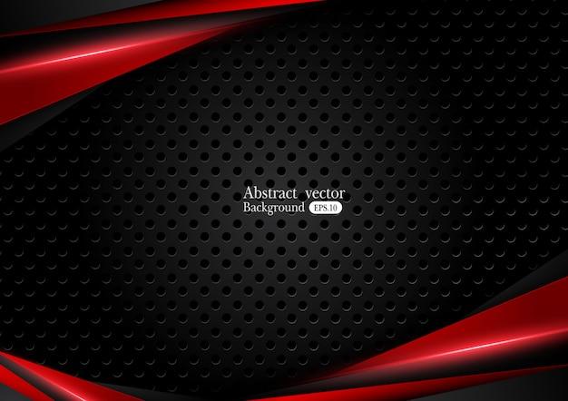 Fondo negro rojo metálico abstracto con rayas de contraste