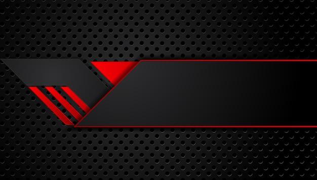 Fondo negro rojo metálico abstracto con rayas de contraste.