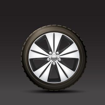 Fondo negro de la rueda del coche