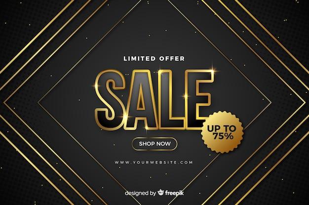 Fondo negro de ventas con detalles dorados