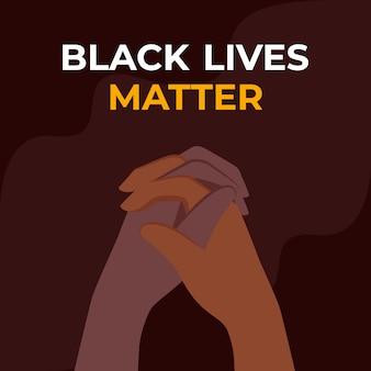 El fondo negro de la vida importa: diferentes manos de colores de piel unidas